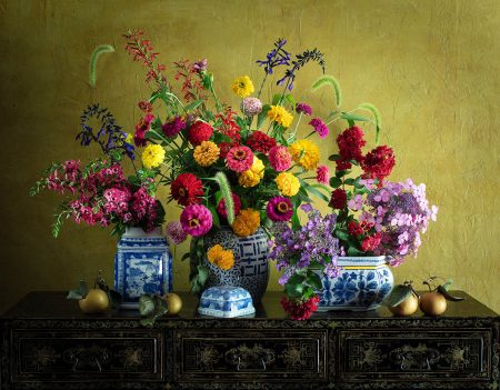 Asian Pears and Garden Flowers by Yelena Strokin