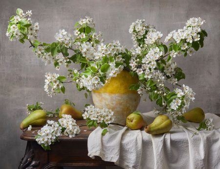 Flowering Branches of Pear by Alena Kutnikova