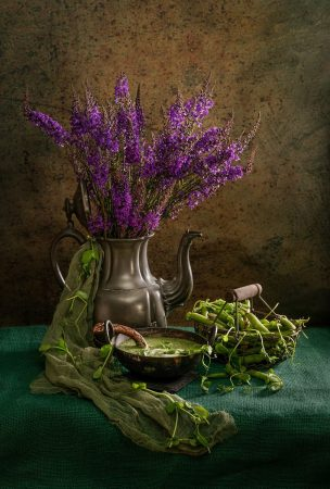 Purple Loosestrife and Peas by Angi Wallace